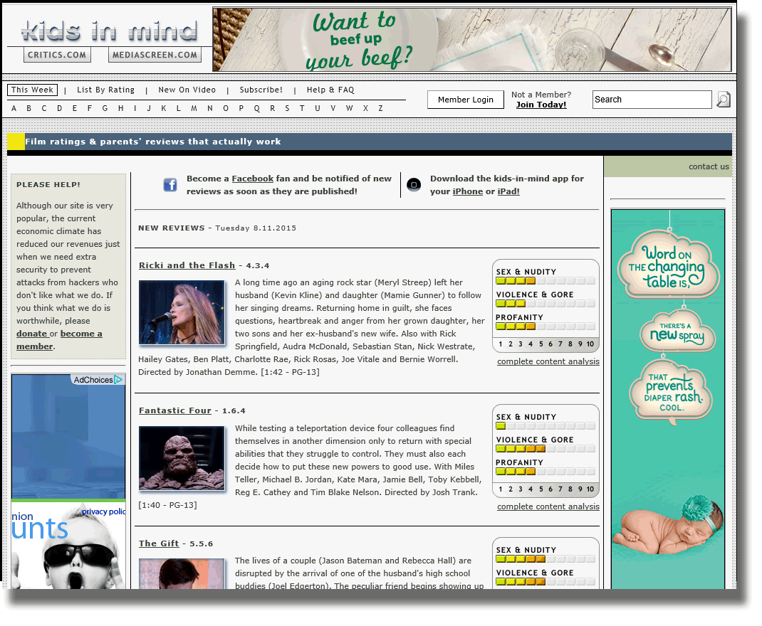 homepage of kids-in-mind movie analysis site.